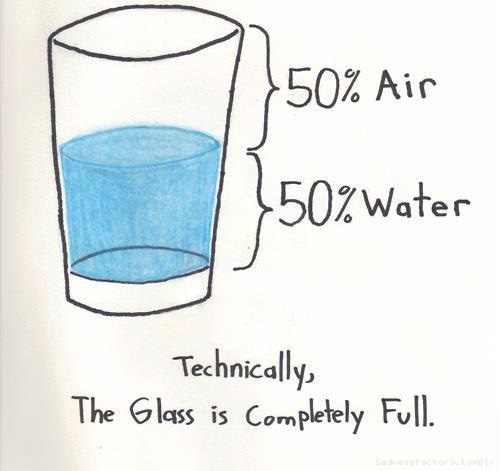 Technically, the glass is completely full.