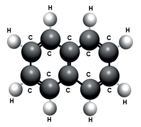 Naphthenic aromatic molecule of insulating mineral oil (there are several other aromatic rings present in mineral oil, all rich in hydrogen)