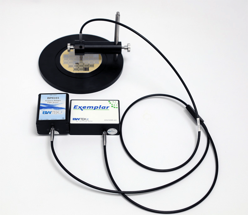 Measurement of reflectance off the surface of a silicon wafer using Exemplar series spectrometer, and other equipment.
