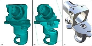 (a) Reconstructed 3D CT volume (b) Reconstructed CT Volume showing virtual slice, and (c) Surface capabilities reconstructed from 3D volume.