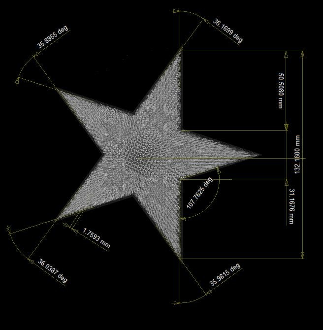 Features not fitted to the part can be created from point to point on the stars.
