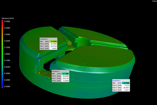 A surface of the scanned data in 3D is compared with the CAD/point cloud data, and colors are assigned based on deviation.