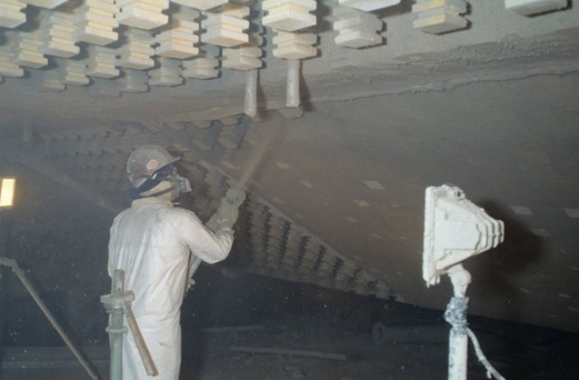 Gunning application for a furnace roof