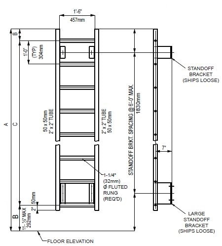 Standard Ladder with Large Standoff Wall Mount