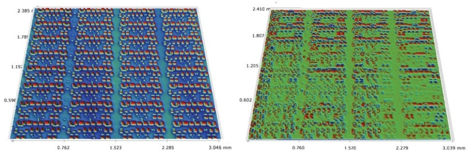 Left: reference image (Z scaled ±70 nm), and Right: subtracted image (Z scaled ±0.8 nm).
