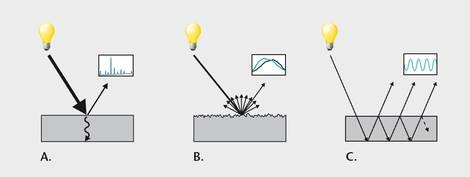 The interaction between the sample and the electromagnetic radiation