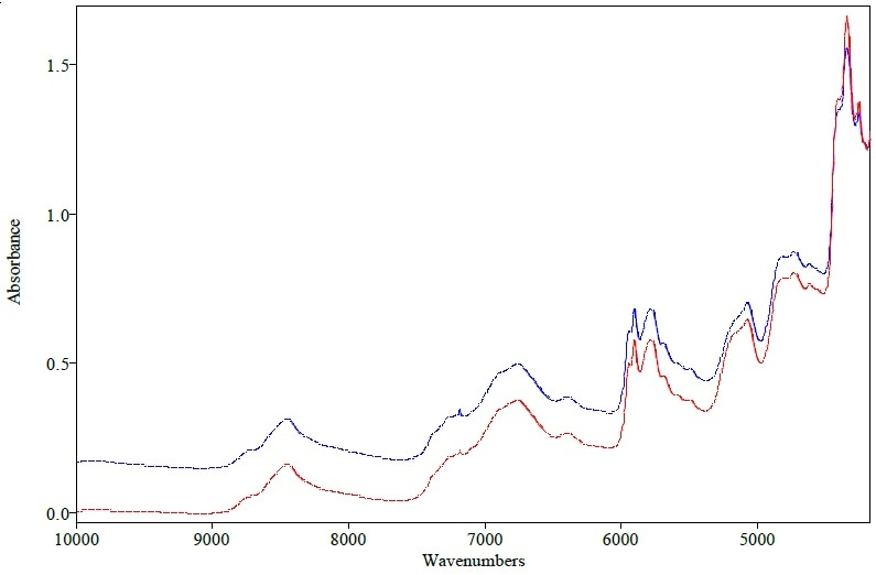 Original spectra of erythromycin tablet measured with QuasIR™ 2000 (red) and Matrix-F (blue)