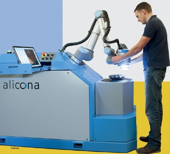 Alicona Cobots integrate a collaborative 6-axis robot and a powerful optical 3D measurement sensor.