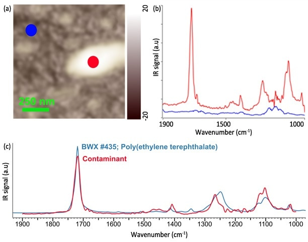 (a) AFM height image of a wafer with organic residue. (b) FASTspectra data on (red) and off (blue) the contaminant. (c) Positive FTIR database identification of the surface contaminant as PET.