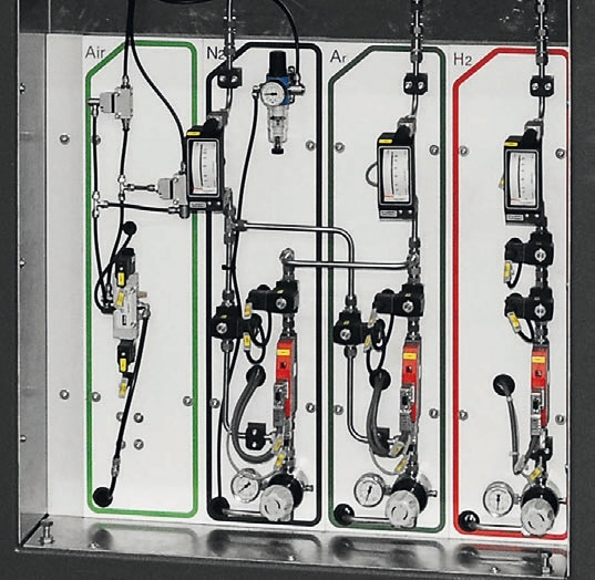 Fully automated multiple gas controls by MFC at a Carbolite Gero graphite chamber furnace, air is only used for pneumatic valves.