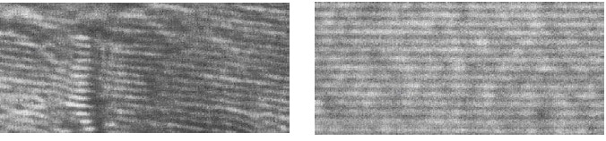 Electron microscope pictures: left graphite layers before heat treatment with disordered layers and right after heat treatment up to 2200 °C with completely straightened layers