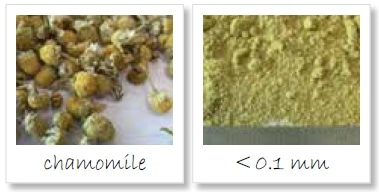 Homogenization of chamomile; left: original sample; right: sample ground to < 100 µm