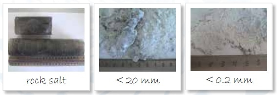 Homogenization of rock salt; left to right: original sample, sample ground to < 20 mm, sample ground to < 200 µm