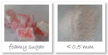 Homogenization of foamy sugar; left: original sample, right: sample ground to < 500 µm