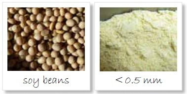 Homogenization of soy beans; left: original sample; right: sample ground to < 500 µm