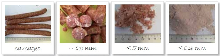 Homogenization of sausages; from left to right: original sample; pre-cut with large fatty parts; ground to < 5 mm; pulverized sample < 300 µm