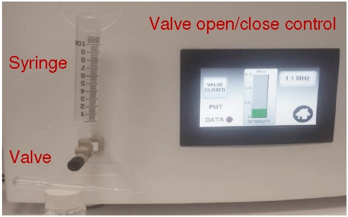 Injection syringe and valve on front panel