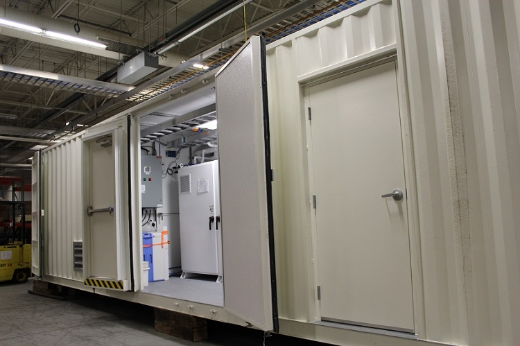 A containerized C Series Hydrogen Generator used for generator cooling being prepared for to delivery to a powerplant customer. Containerized hydrogen generators offer powerplants a turnkey solution that can be installed outside in variety of climates.