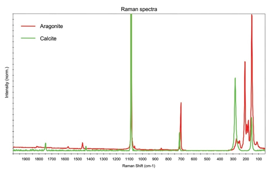 Overlay of the Raman spectra obtained from the CaCO3 crystals