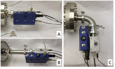 Experimental set-up to show the effects of distance and radical loss on cleaning efficiency of an Evactron Zephyr PRS. (A) 9 cm straight, (B) 32 cm straight, (C) 22 cm curved connector.
