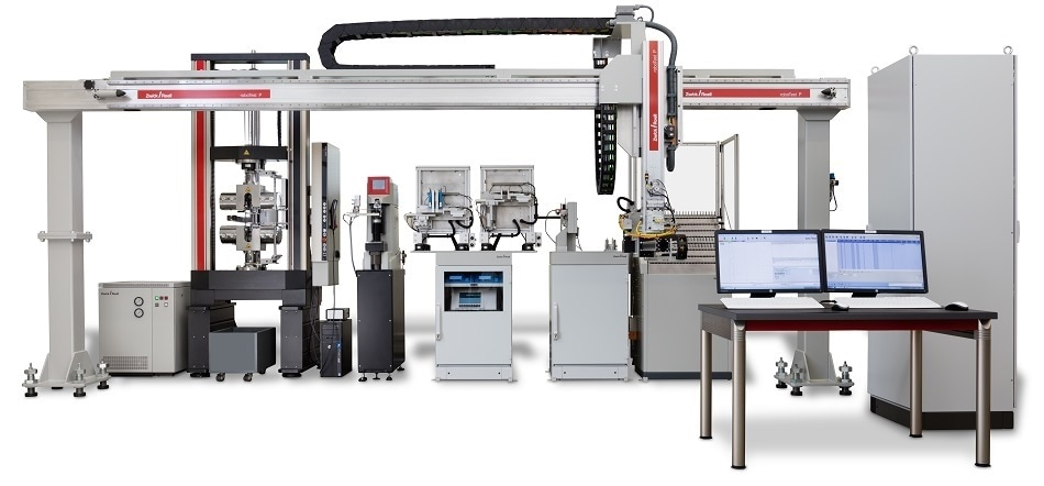 Robotic testing machines for full-automated tensile tests on metals