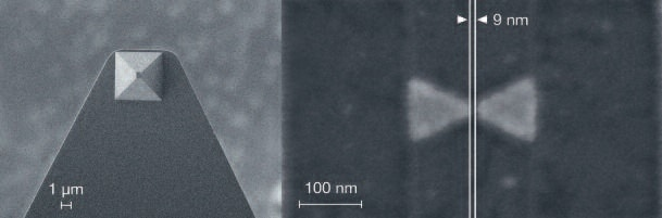Plasmonic nano-antenna on top of a gold-coated AFM tip. Direct milling, i.e. without the need for using a resist, enables high-resolution features even on topographic samples. Image produced by Raith for Professor Moerner, Stanford University, USA.