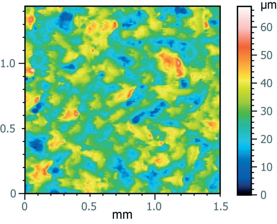 3D height profile of a bare PMMA plate with theoretical Sq roughness of 6.6 µm, measured with MountainsMap® at 6.18 µm.