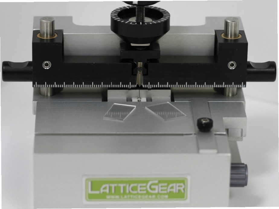 Glass slides cleaved using the LatticeAx. The scribeless cleave process of the LatticeAx eliminates generation of dust particles, making it ideal for downsizing the glass slide that already contained unique, proprietary fibers.