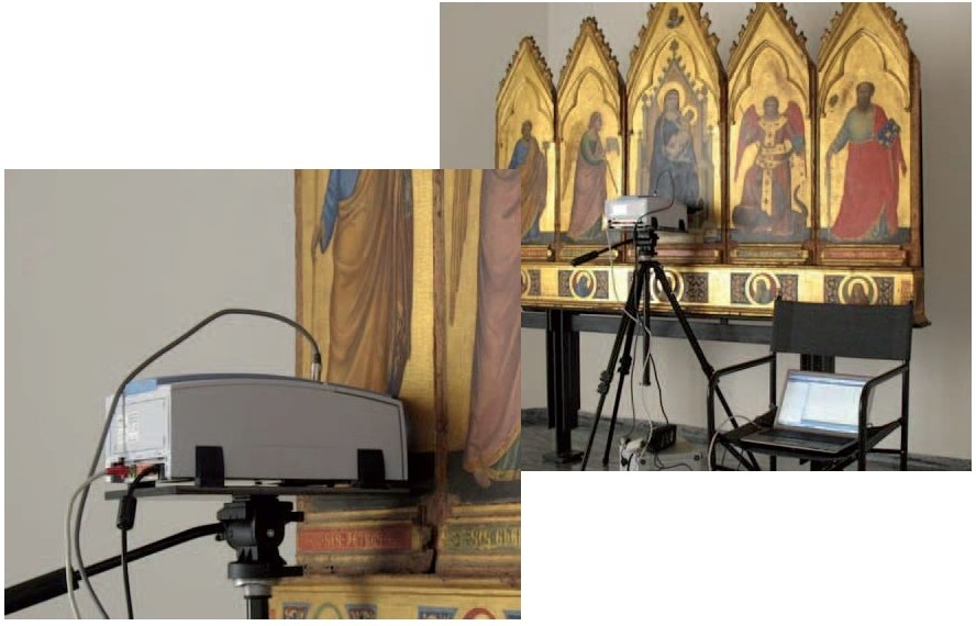 Polittico di Giotto with a tripod mounted ALPHA-R and a laptop PC.