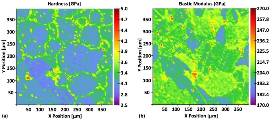 Hardness (a) and elastic modulus (b) property maps. The inter-granular carbide is difficult to discern from the SEM image, but clear in the hardness map, where the carbide precipitation appears yellowish. The map of elastic modulus provides information on the elastic properties of the respective phases and grain orientation.