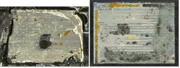 Left. Thin sample after downsizing using sawing. Right. Thin sample after cleaving with the LatticeAx