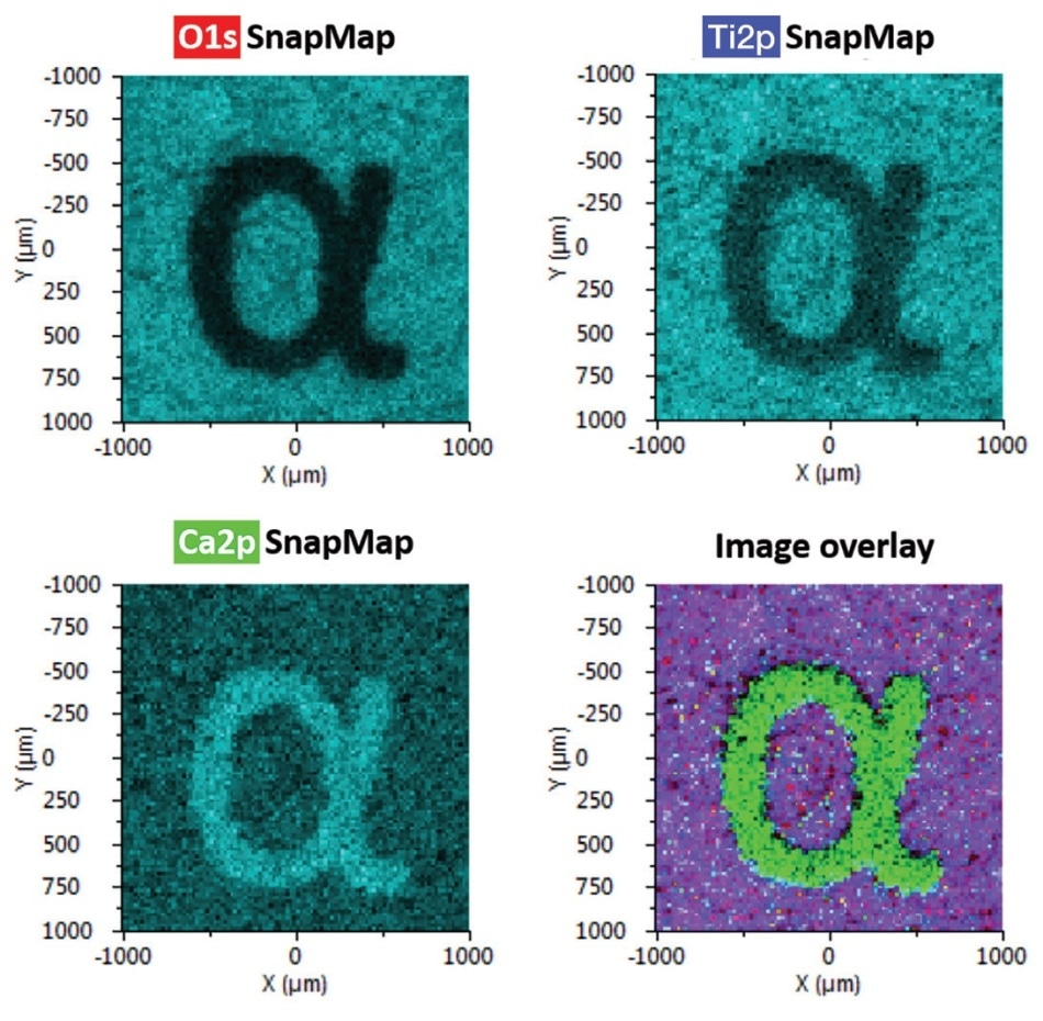 """Three different elemental SnapMaps of an """"a"""""""