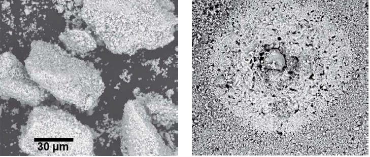 SEM images using backscattered electron detector (BSD) of (left) ceramic powder agglomerates and (right) their effect on the ceramic microstructure. Image/data courtesy of CoorsTek