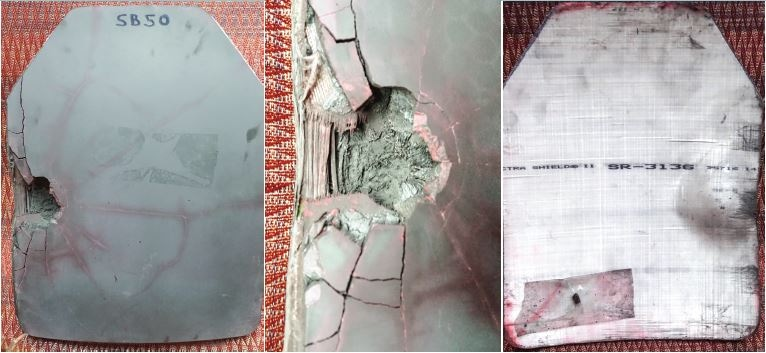 Hexoloy sintered SiC body panel after impact with a projectile. (From left) Front view of impact zone of plate; close-up of impact zone; and backside deformation of plate with projectile remains. (Credit: Saint-Gobain)