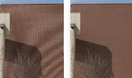 The image on the left has not been captured at sufficient resolution and shows artifacts.
