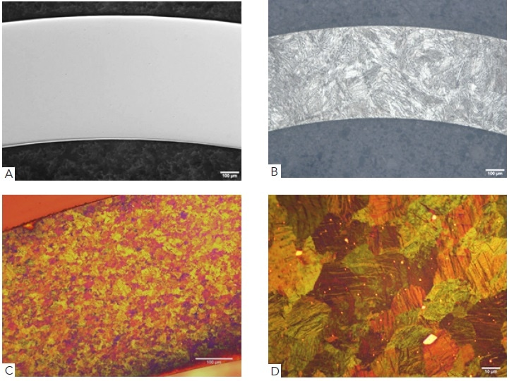 Showing (A) as polished Nitinol surface with 5 parts Mastermet and 1 part hydrogen peroxide (B) smaller sized sample polished and etched with 60 ml HNO3, 30 ml acetic acid and 20 ml HCl for 20-40 seconds to reveal martensitic microstructure and (C) surface etched with an etchant composed of HCl, Na2S2O5, K2S2O5 and NH4F viewed with polarized light to reveal a fine grain structure, (D) high magnification to illustrate individual grains and the characteristic martensitic microstructure.