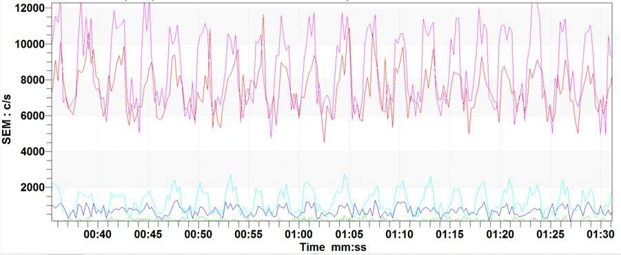Example data showing the real-time analysis of muliple compounds exhaled in human breath during an exercise test.