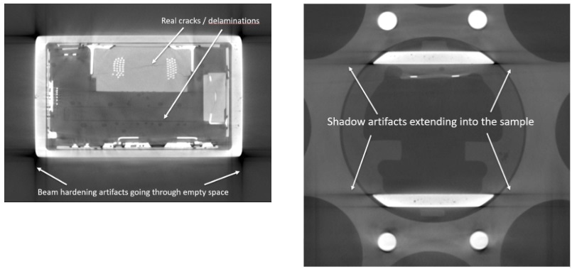 """Examples of beam hardening """"shadow"""" artifacts along the edges of flat, dense surface boundaries. Note that artifacts are especially accentuated along long, flat surfaces versus rounded or irregular objects."""
