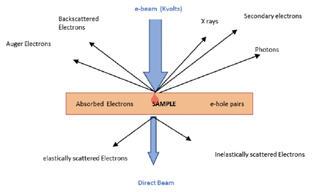Interaction electron beam with sample