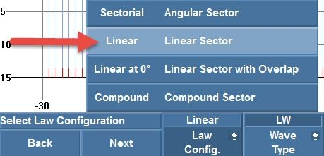 "Setting the law configuration to ""Linear"""