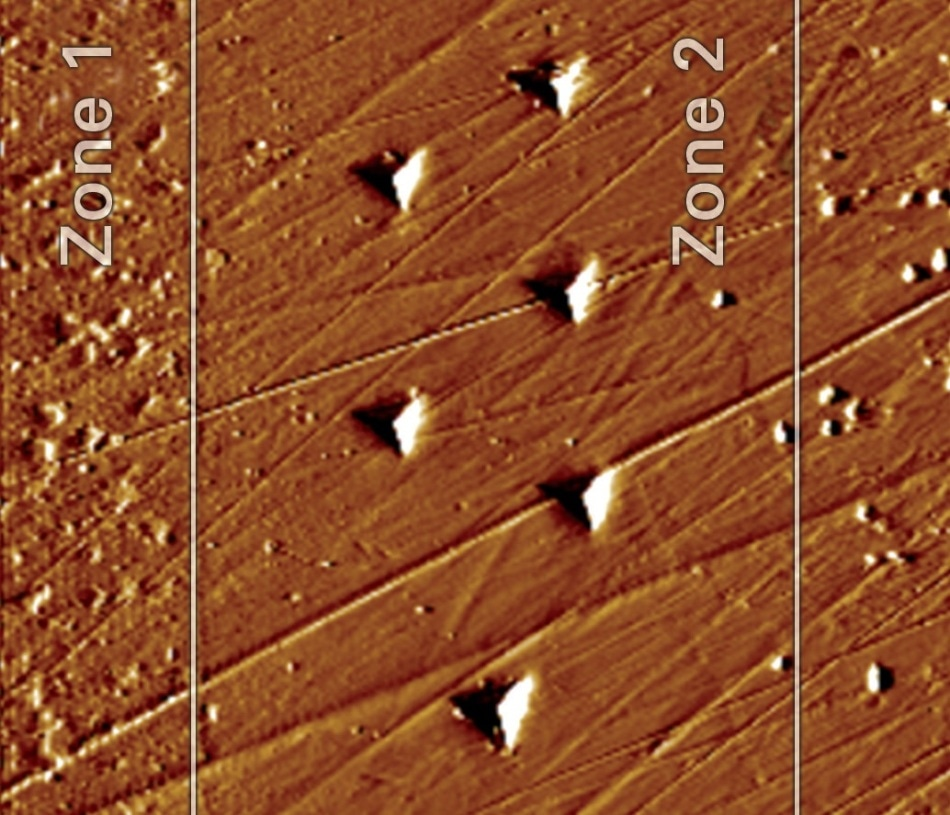 SPM image of indent impressions in Zone 2 collected at 650°C.