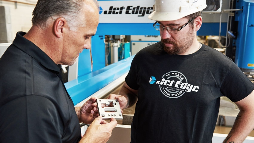 The 5-axis Jet Edge Edge X-5 has a proprietary plate mapping feature that allows precise nozzle-to-plate sandoff.