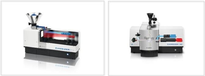 Two high-end DIA particle analyzers: CAMSIZER P4 (left) and CAMSIZER X2 (right) from Retsch Technology. The P4 model is suitable for fast analysis of pourable bulk solids in a size range from 20 µm to 30 mm. The X2 model is optimized for fine powders in a size range from 0.8 µm to 8 mm.