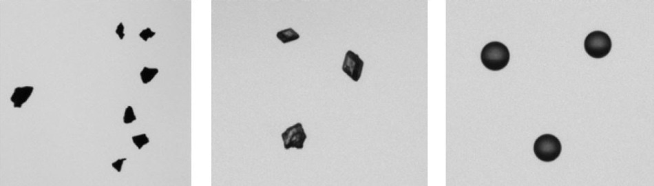 Example images from CAMSIZER measurements: activated carbon (left), sugar crystals (middle), and expandable polystyrene beads (right).