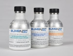 Bump-N-Go cylinders are designed to simplify bump testing for mobile workers or those who do not have access to a docking station. The miniature cylinders are only 3.8 inches (97 mm) tall and provide up to 250 bump tests when using the corresponding pushbutton regulator. The cylinders have a one-year shelf life and are available for single-gas CO and H2S instruments as well as standard 4-gas (CO, H2S, O2, LEL) instruments.