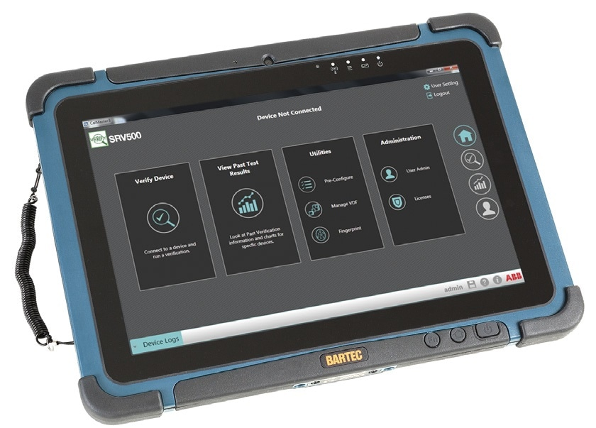 ABB Ability Instrumentation verification software operated on industrial tablet