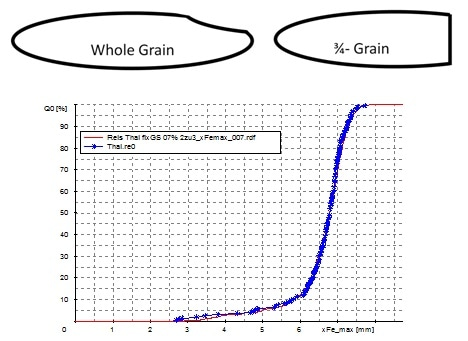 Result of the length measurement of rice grains with the CAMSIZER P4 (red curve, measurement time 1 minute). The blue curve represents the measurement of 200 rice grains with a caliper (measurement time />1 hour). The CAMSIZER P4 provides identical, reliable, and user-independent results.
