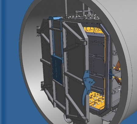 Hot zone door with preinstalled shutters