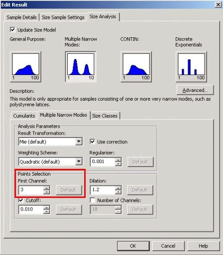 The points selection section can be accessed on the chosen distribution analysis tab in the Edit Result window.