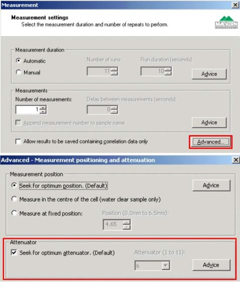 Clicking the Advanced button on the Measurement Settings tab allows access to the default option of seeking for the optimum attenuator position.